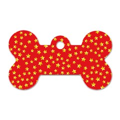 Yellow Stars Red Background Dog Tag Bone (two Sides) by Onesevenart