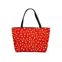 Yellow Stars Red Background Shoulder Handbags by Onesevenart