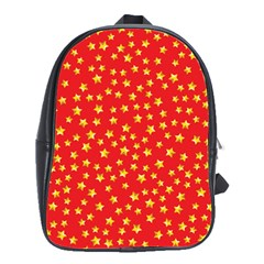 Yellow Stars Red Background School Bag (large) by Onesevenart