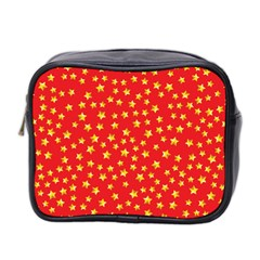 Yellow Stars Red Background Mini Toiletries Bag 2 Side by Onesevenart