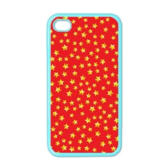 Yellow Stars Red Background Apple Iphone 4 Case (color) by Onesevenart
