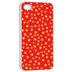 Yellow Stars Red Background Apple Iphone 4/4s Seamless Case (white) by Onesevenart