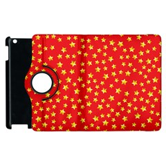 Yellow Stars Red Background Apple Ipad 3/4 Flip 360 Case by Onesevenart