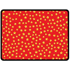 Yellow Stars Red Background Double Sided Fleece Blanket (large)  by Onesevenart