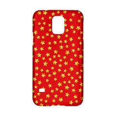 Yellow Stars Red Background Samsung Galaxy S5 Hardshell Case  by Onesevenart