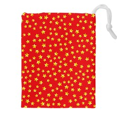 Yellow Stars Red Background Drawstring Pouches (xxl) by Onesevenart