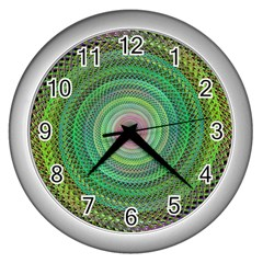 Wire Woven Vector Graphic Wall Clocks (silver)  by Onesevenart