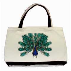 Peacock Bird Peacock Feathers Basic Tote Bag by Onesevenart