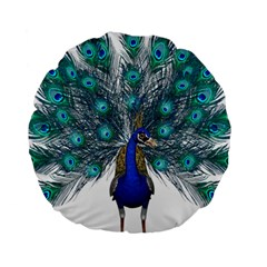 Peacock Bird Peacock Feathers Standard 15  Premium Round Cushions by Onesevenart