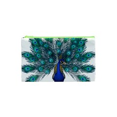 Peacock Bird Peacock Feathers Cosmetic Bag (xs) by Onesevenart