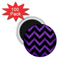 Chevron9 Black Marble & Purple Brushed Metal (r) 1 75  Magnets (100 Pack)  by trendistuff