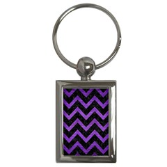 Chevron9 Black Marble & Purple Brushed Metal (r) Key Chains (rectangle)  by trendistuff