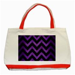 Chevron9 Black Marble & Purple Brushed Metal (r) Classic Tote Bag (red) by trendistuff