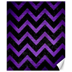 Chevron9 Black Marble & Purple Brushed Metal (r) Canvas 8  X 10  by trendistuff