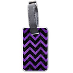 Chevron9 Black Marble & Purple Brushed Metal (r) Luggage Tags (two Sides) by trendistuff