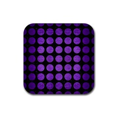 Circles1 Black Marble & Purple Brushed Metal (r) Rubber Square Coaster (4 Pack)  by trendistuff