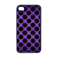 Circles2 Black Marble & Purple Brushed Metal Apple Iphone 4 Case (black) by trendistuff
