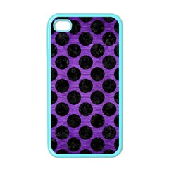 Circles2 Black Marble & Purple Brushed Metal Apple Iphone 4 Case (color) by trendistuff