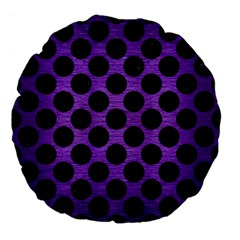 Circles2 Black Marble & Purple Brushed Metal Large 18  Premium Flano Round Cushions by trendistuff