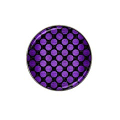Circles2 Black Marble & Purple Brushed Metal (r) Hat Clip Ball Marker