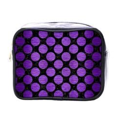 Circles2 Black Marble & Purple Brushed Metal (r) Mini Toiletries Bags by trendistuff