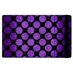 Circles2 Black Marble & Purple Brushed Metal (r) Apple Ipad 2 Flip Case by trendistuff
