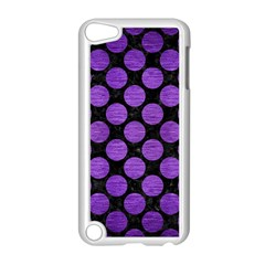 Circles2 Black Marble & Purple Brushed Metal (r) Apple Ipod Touch 5 Case (white) by trendistuff