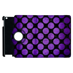 Circles2 Black Marble & Purple Brushed Metal (r) Apple Ipad 2 Flip 360 Case by trendistuff