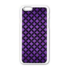 Circles3 Black Marble & Purple Brushed Metal Apple Iphone 6/6s White Enamel Case by trendistuff