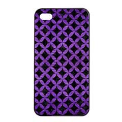 Circles3 Black Marble & Purple Brushed Metal (r) Apple Iphone 4/4s Seamless Case (black) by trendistuff