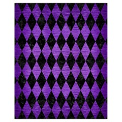 Diamond1 Black Marble & Purple Brushed Metal Drawstring Bag (small) by trendistuff
