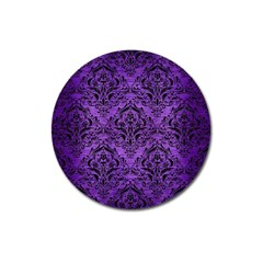 Damask1 Black Marble & Purple Brushed Metal Magnet 3  (round) by trendistuff