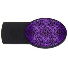 Damask1 Black Marble & Purple Brushed Metal Usb Flash Drive Oval (2 Gb) by trendistuff