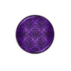 Damask1 Black Marble & Purple Brushed Metal Hat Clip Ball Marker (10 Pack) by trendistuff
