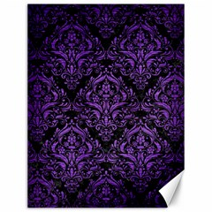 Damask1 Black Marble & Purple Brushed Metal (r) Canvas 12  X 16   by trendistuff