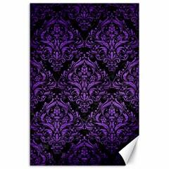 Damask1 Black Marble & Purple Brushed Metal (r) Canvas 24  X 36  by trendistuff