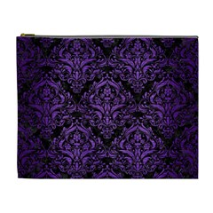 Damask1 Black Marble & Purple Brushed Metal (r) Cosmetic Bag (xl) by trendistuff