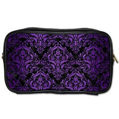 Damask1 Black Marble & Purple Brushed Metal (r) Toiletries Bags by trendistuff