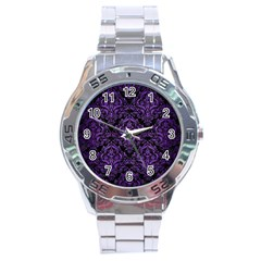 Damask1 Black Marble & Purple Brushed Metal (r) Stainless Steel Analogue Watch by trendistuff