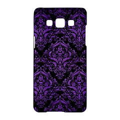 Damask1 Black Marble & Purple Brushed Metal (r) Samsung Galaxy A5 Hardshell Case  by trendistuff
