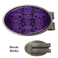 Damask2 Black Marble & Purple Brushed Metal (r) Money Clips (oval)
