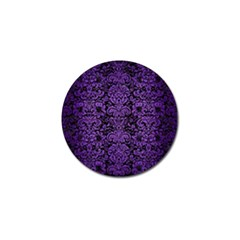 Damask2 Black Marble & Purple Brushed Metal (r) Golf Ball Marker (4 Pack) by trendistuff