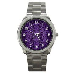 Damask2 Black Marble & Purple Brushed Metal (r) Sport Metal Watch by trendistuff