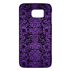 Damask2 Black Marble & Purple Brushed Metal (r) Galaxy S6