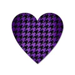Houndstooth1 Black Marble & Purple Brushed Metal Heart Magnet by trendistuff