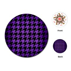 Houndstooth1 Black Marble & Purple Brushed Metal Playing Cards (round)  by trendistuff
