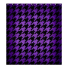 Houndstooth1 Black Marble & Purple Brushed Metal Shower Curtain 66  X 72  (large)  by trendistuff