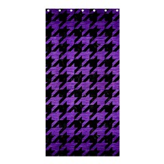 Houndstooth1 Black Marble & Purple Brushed Metal Shower Curtain 36  X 72  (stall)  by trendistuff