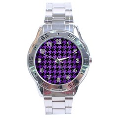 Houndstooth1 Black Marble & Purple Brushed Metal Stainless Steel Analogue Watch by trendistuff