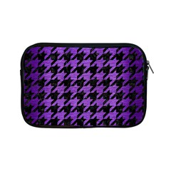 Houndstooth1 Black Marble & Purple Brushed Metal Apple Ipad Mini Zipper Cases by trendistuff